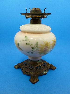 "Antique Hand Painted Floral Gilt Milk Glass GWTW Lamp Base w/ Burner 10.5""H"