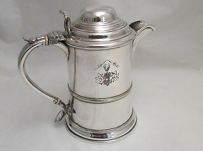 A Fantastic Old Sheffield Plate Lidded Tankard / Beer Jug - Crest - Late 18thC