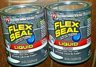 2 x 16 oz. WHITE FLEX SEAL Liquid Rubber Sealant Coating Cans! Free Shipping!