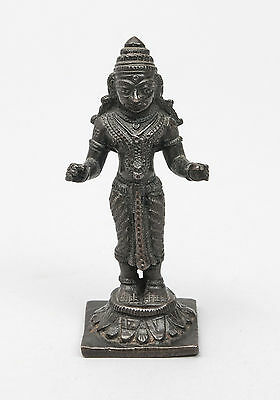 Antique Thai or Khmer Cast Bronze Figure Statue of Uma Goddess of the Mountains