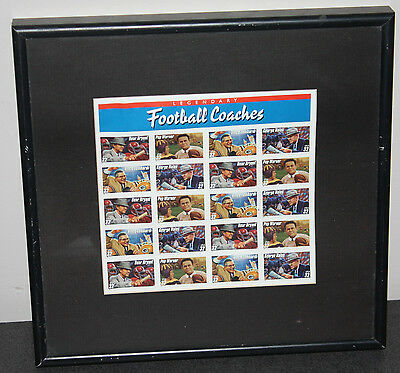 Full Sheet Collectable US postage stamps, Legendary Football Coaches Framed