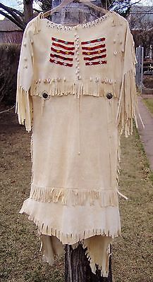 Vintage Native American Hand-Made Leather Dress w Beads, Silver Brooches, Shells