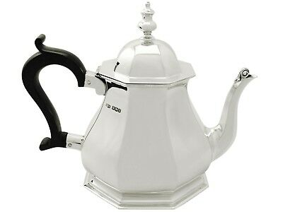 Antique George V Queen Anne Style Sterling Silver Teapot 1927