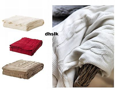 IKEA Ursula Afghan Throw BLANKET RED 0r BEIGE 0r NATURAL Cable Knit Cotton