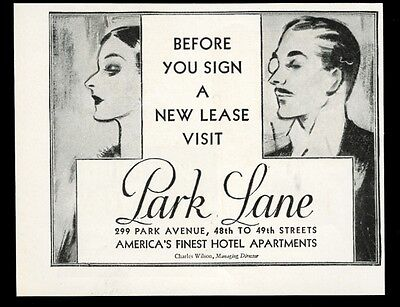 1929 The Park Lane Hotel Apartment New York City 48th and Park vintage print ad