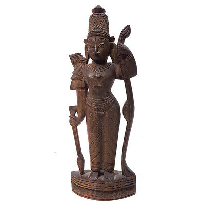 Antique Thailand Asian Standing Hand Carved Wooden Figure 9.25""