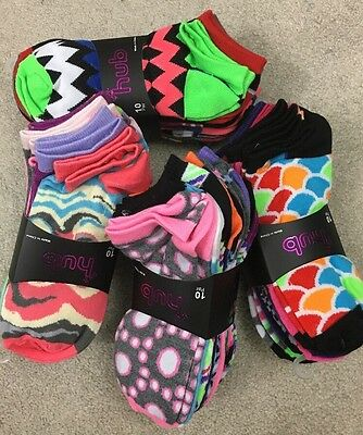 New Women's Low Cut Ankle Socks size 9/11 multi colored pack of 10 pair