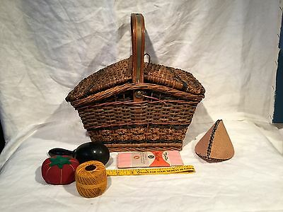 Antique Wicker Sewing Basket With Contents