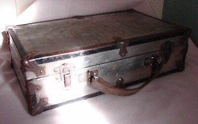 "ca 1900 Antique Small Metal Suitcase Salesman Sample ? 12-3/4"" x 5-5/8"" x 3-1/2"""