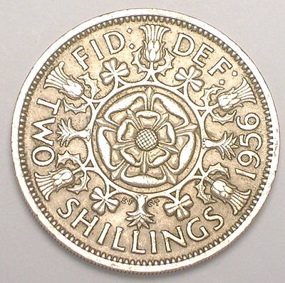 1956 UK Great Britain Two 2 Shillings Double Rose Coin VF