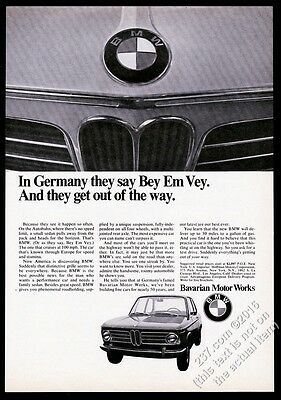 1969 BMW 2002 car photo Bey Em Vey vintage print ad