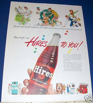 1951 Hires Root Beer soda bottle Ad Happy thought!