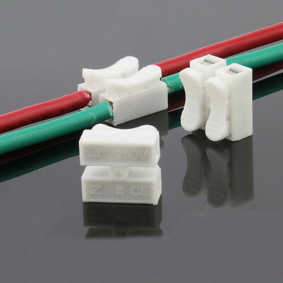 10/50/100X 10A 2 Way LED Ceiling Quick Fix Spring Clamp Terminal Block Connector