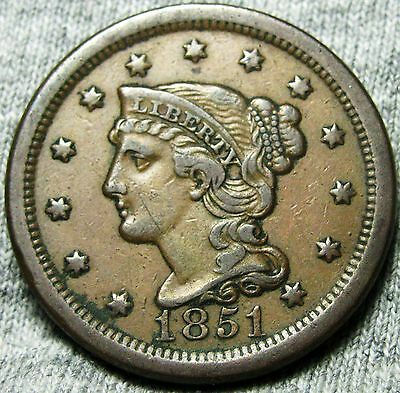 1851 Braided Hair Large Cent --- NICE TYPE COIN --- #N875