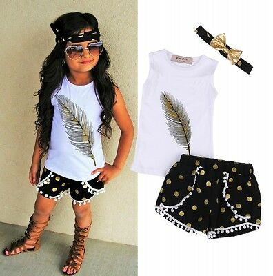 Summer Kids Girls Clothes Outfits Sleeveless Tops Shorts Pants Headband 3PCS Set
