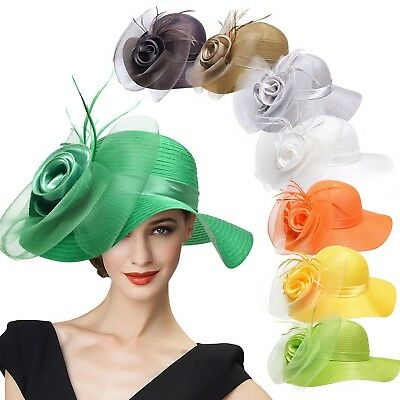 Women Dress Church Wedding Crin feather satin Kentucky Derby Okas Sun Hats A433