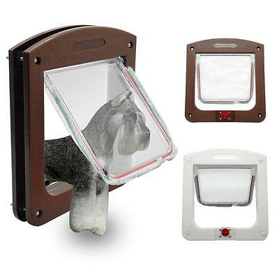 4 Way Lock Lockable Pets Safe Flap Door Fit for Dog Cat White Brown - LD