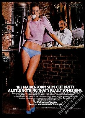 1980 Maidenform lingerie blue panties woman espresso coffee bar photo ad