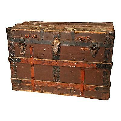 Vintage STEAMER TRUNK flat top coffee table toy brown storage old box distressed