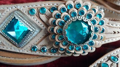 WESTERN HORSE/RODEO-  BRIDLE,REINS BREAST PLATE TURQUOISE RHINESTONES - Light