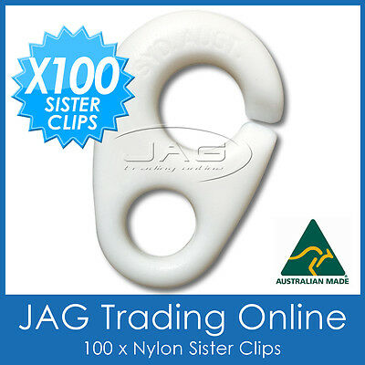100 x NYLON SISTER CLIPS - Boat/Yacht/Sailing/Marine/Nautica/Flag/Pennant Staff
