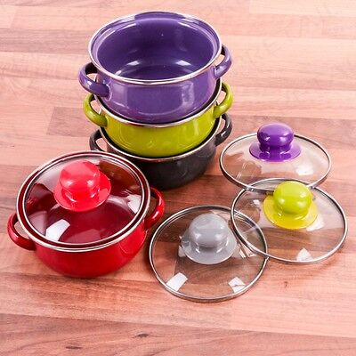 SET OF 4 MINI ENAMEL CASSEROLE DISHES & GLASS LID Individual Serving Hob Pot Pan