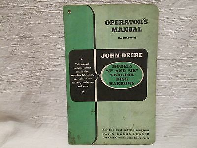 "Vintage John Deere Operator's Manual Models ""J"" and ""JB"" Tractor Disk Harrows"