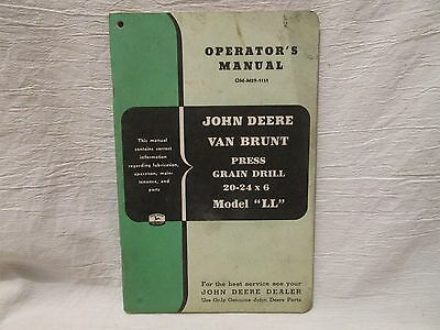 "Vintage John Deere Operator's Manual Van Brunt Press Grain Drill Model ""LL"""