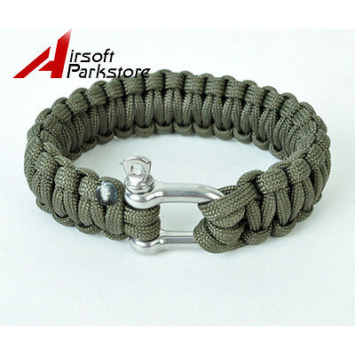 Outdoor Parachute Survival Bracelet Paracord Emergency Gear with Steel Buckle OD