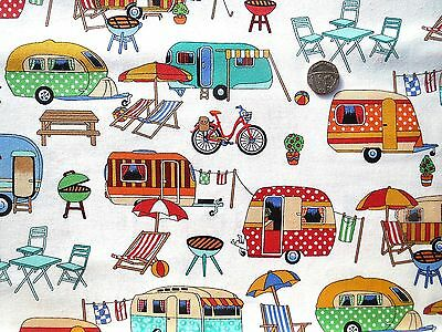 Getaway Caravans picnic barbq etc fabric fq 50cmx56cm Nutex 89510-1 100% Cotton