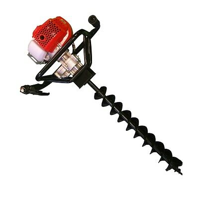 52cc Petrol Ground Drill Earth Auger Hole Borer Fence Post + 200mm Drill Bit