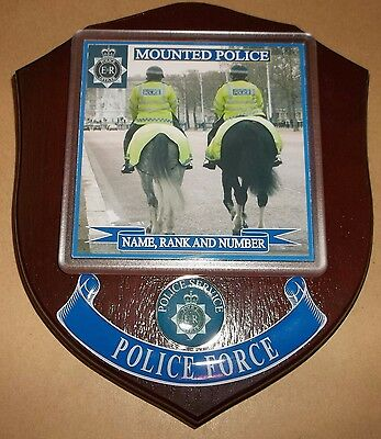 Mounted Police Wall Plaque personalised free of charge.