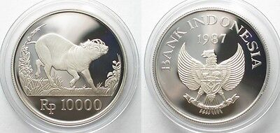 INDONESIA 10000 Rupiah 1987 Wild pig WWF silver Proof # 96234