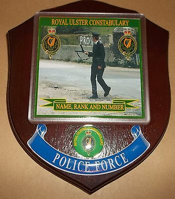 Royal Ulster Constabulary Wall Plaque personalised free of charge.