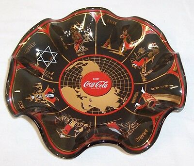 "1967 Coca Cola Glass "" World Dish "" Waffle Plate (Second Version)"