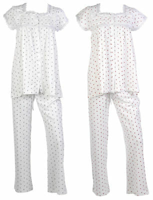 Ladies Floral Lace Pyjamas Cotton Sleeveless Top Trouser Bottoms Traditional PJs