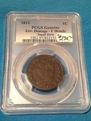 1812 Classic Head Large Cent Pcgs Genuine Fine Details Small Date Coin