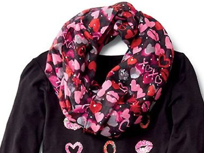 Justice Girl's XOXO Sequin Heart Infinity Scarf NWT