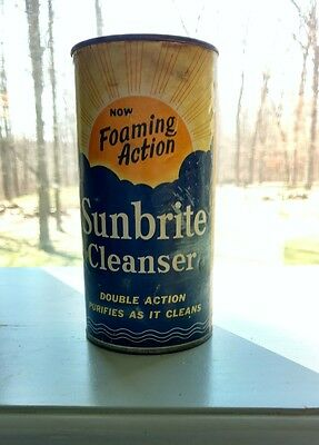 NEW OLD ANTIQUE VINTAGE 1930s SUNBRIGHT CLEANSER ADVERTISING TIN CAN SUN GRAPHIC