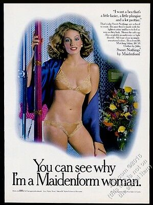 1978 Maidenform lingerie Sweet Nothings plunge bra panty panties woman photo ad