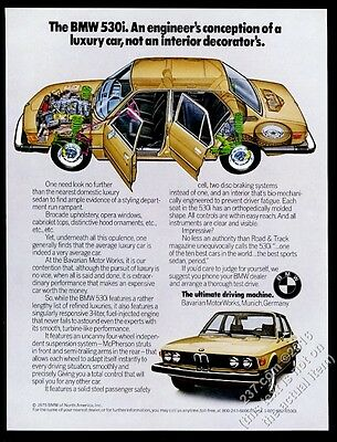 1976 BMW 530i 530 i car photo and color diagram vintage print ad