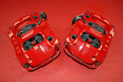 Porsche 970 Panamera Pair Rear Brake Calipers Left Right Brembo Red Oem