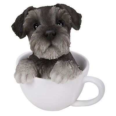 Silver Grey color Schnauzer Puppy Dog Teacup Pet Pal Collection Figurine Statue