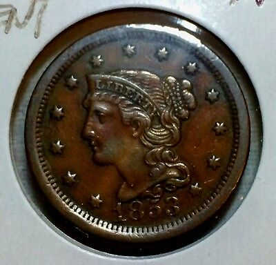 1853 Large Cent, Braided Hair, Nice Condition