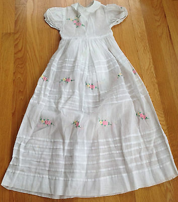 Vintage Delicate 1950's Hand Embroidered Flower Girl Wedding Formal Dress White