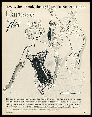 1957 Flexees Caresse lingerie foundation 3 women art vintage print ad