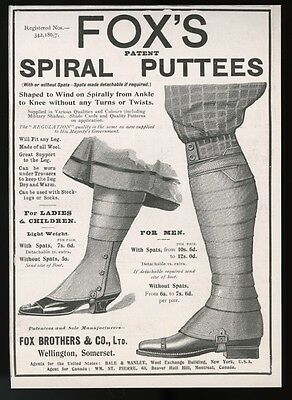1905 Fox's spiral leg puttees leggings vintage UK print ad