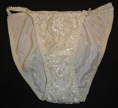 VTG Rene Rofe Satin Lace String Bikini Panties Cream Small 5 NEW