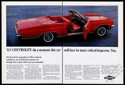1965 Chevrolet Chevy Impala convertible red car photo vintage print ad