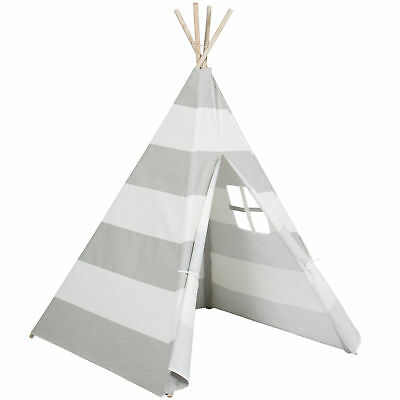 Best Choice Products Kid's Teepee Tent Playhouse, White W/ Gray Stripes